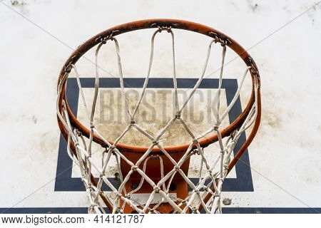 Dirty Old Street Basketball Backboard With Hoop And Net