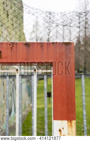 Old Rusty Football Goal On An Abandoned Sports Ground