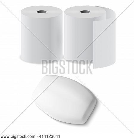 Toilet Paper Roll, Soap Bar 3d Vector Mock Up Box. Antibacterial Hygiene Soap Blankfor Bathroom, Wc.