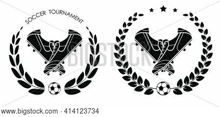 Symbol, Emblem Of Classic Soccer, Football Boot, Spiked Sneaker With Laurel Wreath For Competition.