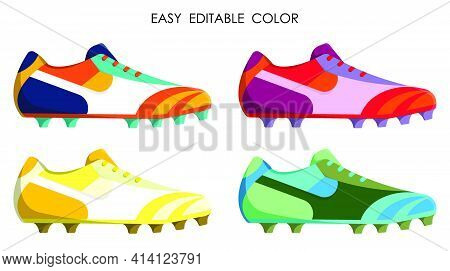 Color Classic Soccer, Football Boot, Spiked Sneaker In Cartoon Style. Isolated Vector On White Backg