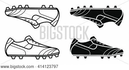 Black And White Classic Soccer, Football Boot, Spiked Sneaker Icon. Isolated Vector On White Backgro
