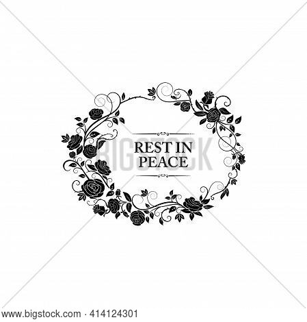 Funeral Frame And Obituary Card Floral Border, Vector Memorial And Mourning Condolences. Funeral Flo