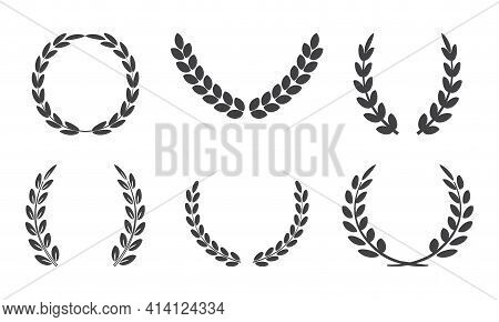 Olive Crown, Laurel Vector Wreath, Leaves Braches, Black Victory Award, Sport Winner Icons Islated O