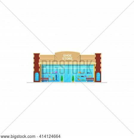 Shoe Store Or Shop, Footwear Fashion Boutique Display, Vector Isolated. Man And Woman Sport Or Casua