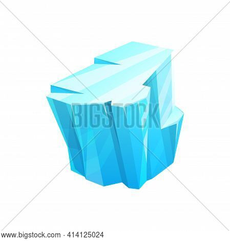 Ice Crystal Of Iceberg Rock, Frozen Glass Or Snow Glacier, Vector Isolated Icon. Frost Crystal Of Ic