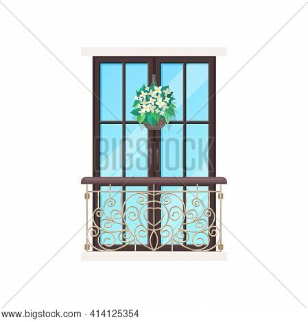 Balcony, House With Window Facade And Building Apartment Porch, Vector Flat Icon. Vintage Or Modern