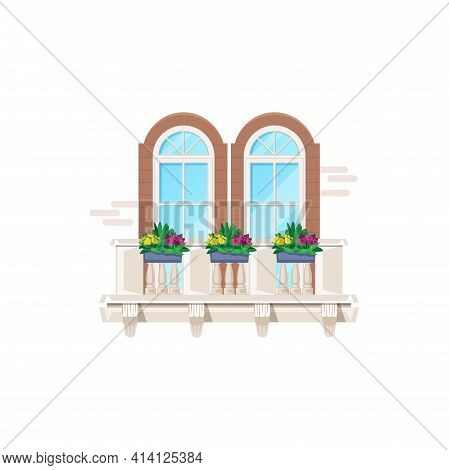 Balcony With Windows, House Building And Apartments Facade Architecture, Vector. Vintage Classic Bal