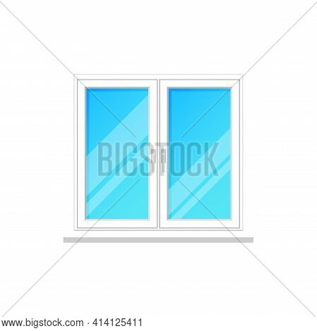 Window, Glass Frame Without Curtain, Vector Home White Plastic Windows, Vector Isolated Icon. House