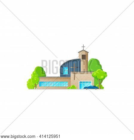 Catholic Church Building Vector Icon. Cathedral With Parked Car, Chapel And Monastery Facade. Modern