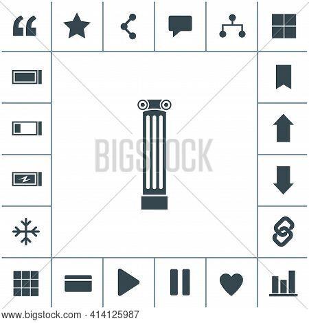 Antique Column Pillar Vector Icon. Ancient Column Icon. Simple Black Icon On White Background