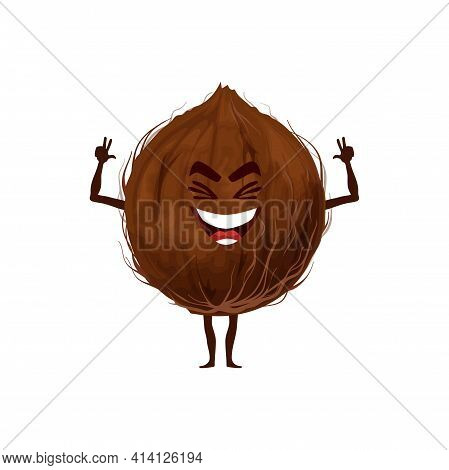 Whole Coconut Fruit In Hard Shell Isolated Funny Emoticon Flat Cartoon Character. Vector Exotic Food