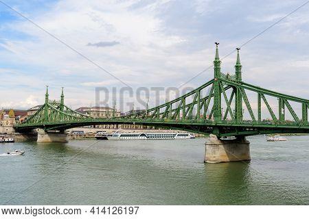 Landscape With Liberty Bridge (szabadság Híd) Over Danube River In Budapest, Hungary