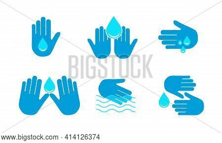 The Hand Holds The Water Drop Icon. A Set Of Vector Icons. Line, Glyph, And Completed The Circuit To