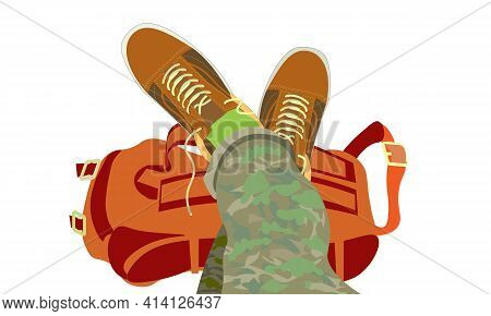 Rest At A Rest Stop, Unlaced Sneakers, Legs Raised Up. The Backpack Is Removed, Relaxation After A H
