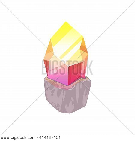 Topaz Yellow To Pink Crystal, Natural Mineral Isolated. Vector Mineralogy Symbol, Golden Nugget, Jew