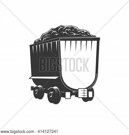 Barrow Track On Railroad Rails, Transportation Cart Isolated Monochrome Icon. Vector Quarry Machiner
