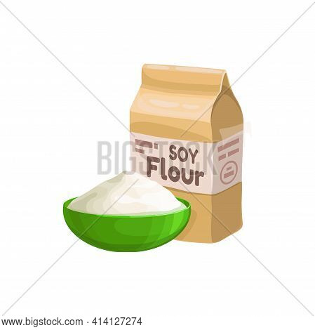 Soy Flour Pack And Bow Isolated Realistic Icon. Vector Paper Package Of Powdered Soya Bean Powder, V