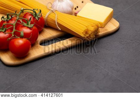Healthy Fresh Italian Food Ingredients For Pasta Close Up