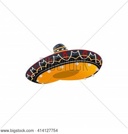 Mexican Sombrero Hat, Isolated Cartoon Vector Icon. Spanish Headwear For Mexico Cinco De Mayo Tradit
