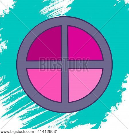 Blush On An Artistic Colored Background. Makeup Collection. Vector.