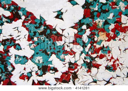 Peeling paint off an object of metal for a colorful background. poster