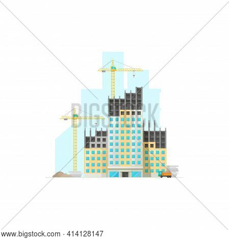 Construction Area Of Real Estate Building, Cranes And Truck With Cement Or Sand Isolated Icon. Vecto