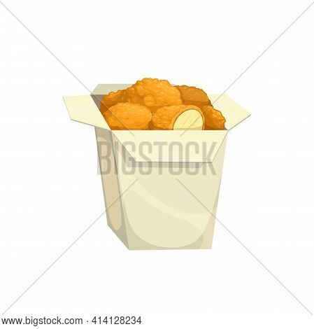 Chicken Nuggets, Fast Food Menu Snacks In Box, Vector Isolated Icon. Fastfood Restaurant Or Bistro C
