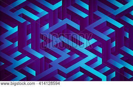 3d Maze, 3d Labyrinth Rendering, Abstract Futuristic Maze, Isometric Dark Purple Maze Rendering. Fut