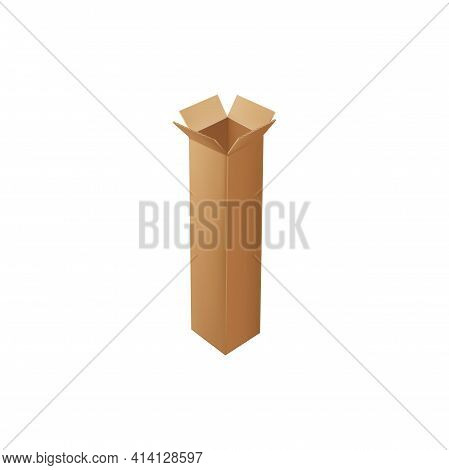 Tall Carton Box Isolated Delivery Package Or Packaging Isolated Icon. Vector Shipping And Delivery T