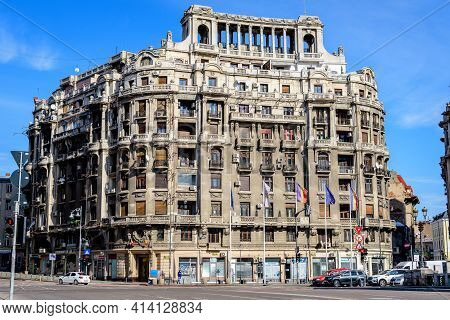 Bucharest, Romania, 13 February 2021 - Old Bulding Nead The Natiunile Unite Square (piata Natiunile