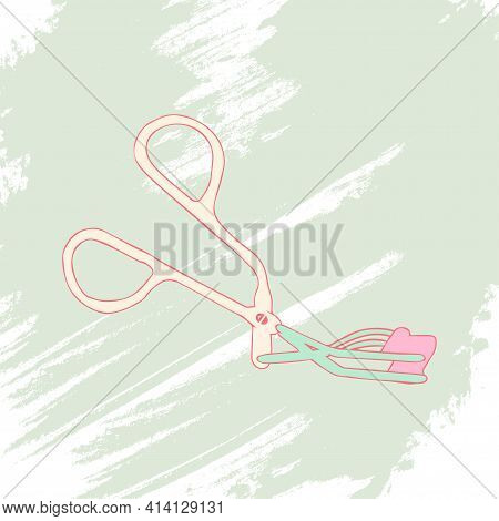 Eyelash Curler On An Artistic Colored Background. Makeup Collection. Vector.
