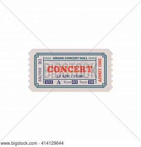 Coupon On Music Show In Grand Concert Hall Isolated Retro Ticket Mockup. Vector Admit One To Musical