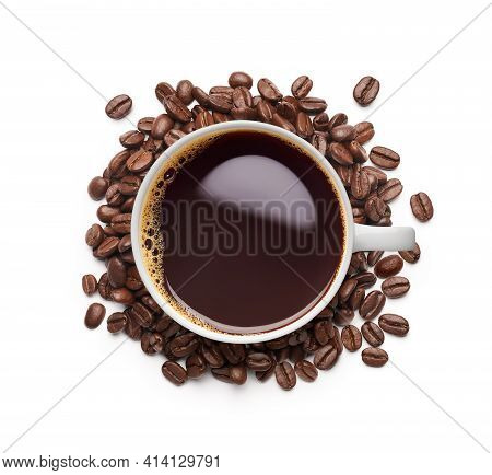 Black Coffee Surrounded By Coffee Beans Over White Background