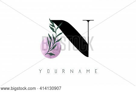 N Letter Logo Design With Pink Circle And Green Leaves. Vector Illustration With With Botanical Elem