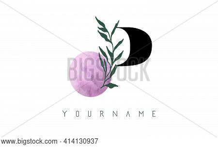 P Letter Logo Design With Pink Circle And Green Leaves. Vector Illustration With With Botanical Elem
