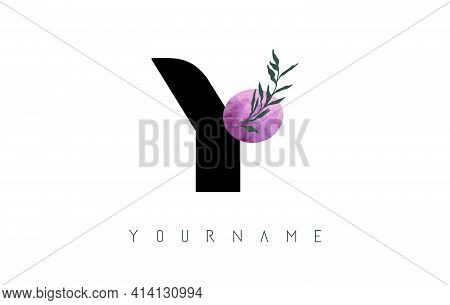 Y Letter Logo Design With Pink Circle And Green Leaves. Vector Illustration With With Botanical Elem