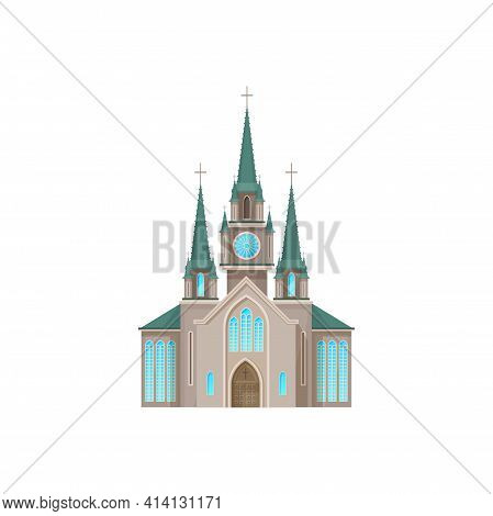Catholic Church Building Vector Icon. Cathedral, Monastery Or Chapel Facade With Cross On Tower. Chr