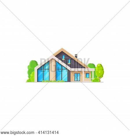 Contemporary House With Triangle Roof, Suburban Cottage Isolated. Vector Family Mansion With Chimney
