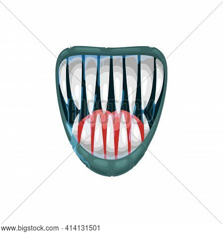 Monster Mouth Vector Icon, Creepy Yelling Beast Jaws With Sharp Teeth And Dripping Saliva With Red T