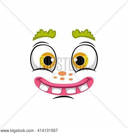 Cartoon Face Isolated Vector Icon, Smile Comic Or Clown Facial Emoji, Funny Creature, Happy Emotion,