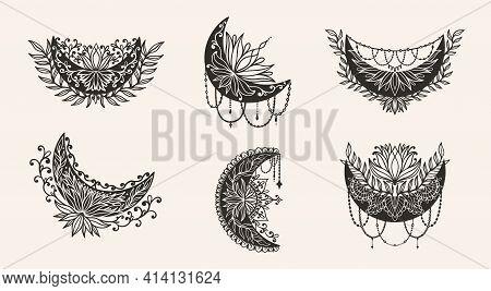 Moon Crescent Flower Mandala.astrology Boho Witch Symbol Amulet.sacred Mystic Decoration Trendy Styl
