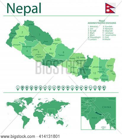 Nepal Detailed Map And Flag. Nepal On World Map.