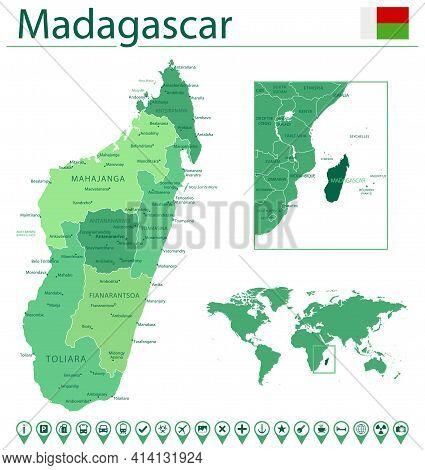 Madagascar Detailed Map And Flag. Madagascar On World Map.