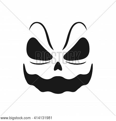 Halloween Smiling Face Vector Icon, Scary Evil Smile, Creepy Monster Eye Holes And Laughing Mouth. G