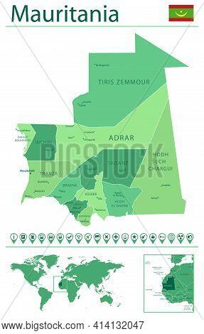 Mauritania Detailed Map And Flag. Mauritania On World Map.