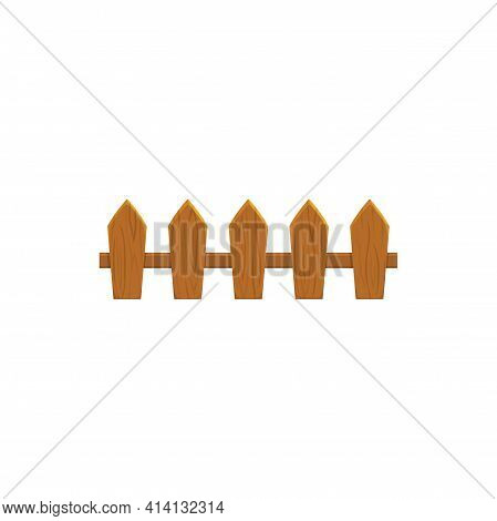 Fence Manor And Residential Countryside Exterior Protective Border Isolated Icon. Vector Rural House