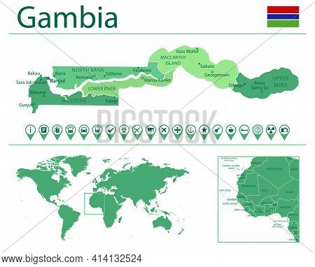 Gambia Detailed Map And Flag. Gambia On World Map.