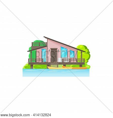 Summer House On Stilts Isolated Building In Water. Vector Wooden Home On Sea Or Ocean With Canoe Boa