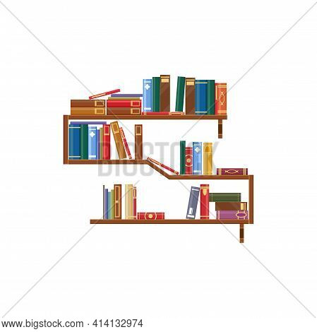 Bookshelf With Books Isolated Bookcase With Rack Of Textbooks. Vector Library Shelves, Wooden Booksh